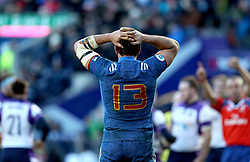 France's Remi Lamerat appears dejected during the NatWest 6 Nations match at BT Murrayfield, Edinburgh. PRESS ASSOCIATION Photo. Picture date: Sunday February 11, 2018. See PA story RUGBYU Scotland. Photo credit should read: Andrew Milligan/PA Wire. RESTRICTIONS: Editorial use only, No commercial use without prior permission.