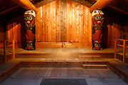 The interior of the Clan House, Totem Bight State Historical Park, Ketchikan, Alaska