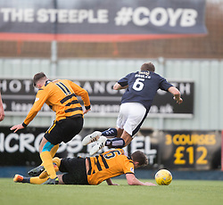 Alloa Athletic's Jason Marr tackles Falkirk's Will Vaulks. <br /> Falkirk 2 v 0 Alloa Athletic, Scottish Championship game played 5/3/2016 at The Falkirk Stadium.