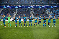 SAINT-PETERSBURG, RUSSIA - OCTOBER 20: Zenit St Petersburg line up on the pitch during the UEFA Champions League Group F match between Zenit St Petersburg and Club Brugge KV at Gazprom Arena on October 20, 2020 in Saint-Petersburg, Russia (Photo by MB Media]