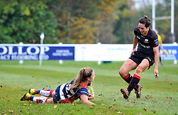Chantelle Miell of Bristol Ladies scores a try - Mandatory by-line: Paul Knight/JMP - 30/10/2016 - RUGBY - Cleve RFC - Bristol, England - Bristol Ladies v Saracens Women - RFU Women's Premiership