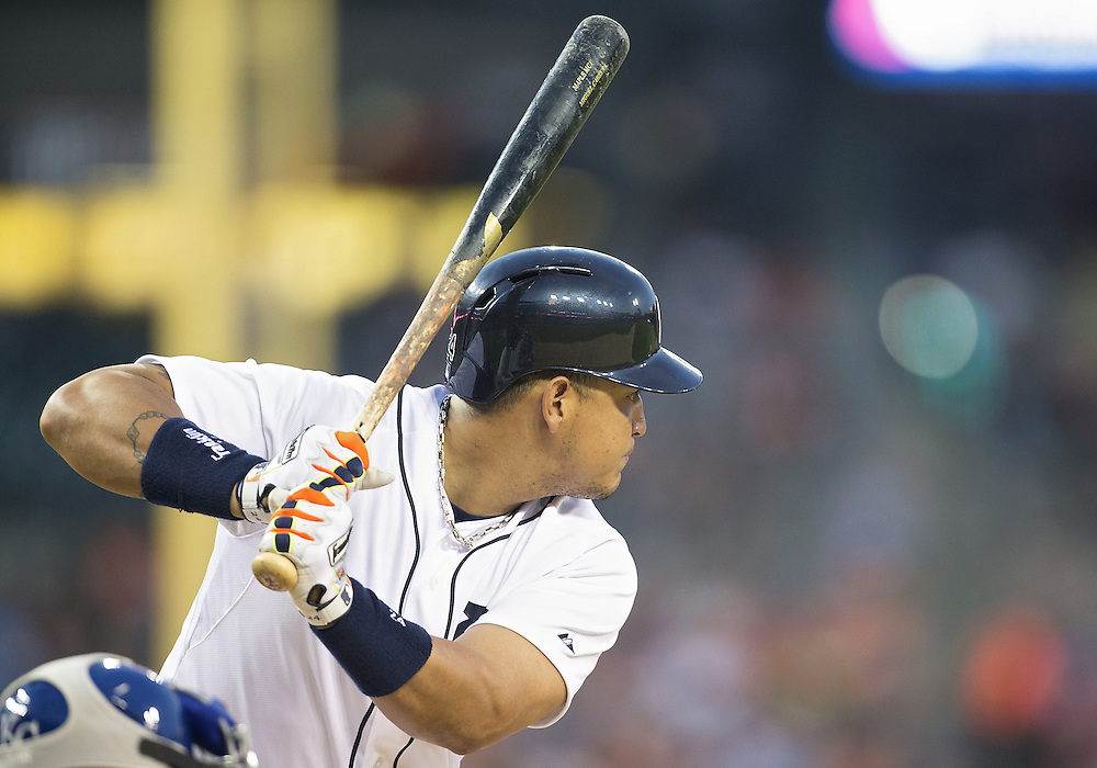 June 17, 2014:  Detroit Tigers first baseman Miguel Cabrera (24) at bat during MLB game action between the Kansas City Royals and the Detroit Tigers at Comerica Park in Detroit, Michigan.  The Royals defeated the Tigers 11-4.