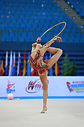 Soldatova Alexandra during qualifying at hoop in Pesaro World Cup at Adriatic Arena on April 10, 2015. Alexandra was born in Pushkino on June 01,1998. She is a rhythmic gymnast member of the Russian National Team. Her nickname for the friends is Sasha.