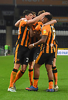 Hull City's Mallik Wilks is congratulated on scoring his team's open ing goal<br /> <br /> Photographer Dave Howarth/CameraSport<br /> <br /> The EFL Sky Bet League One - Hull City v Burton Albion - Saturday 14th November 2020 - KCOM Stadium - Kingston upon Hull<br /> <br /> World Copyright © 2020 CameraSport. All rights reserved. 43 Linden Ave. Countesthorpe. Leicester. England. LE8 5PG - Tel: +44 (0) 116 277 4147 - admin@camerasport.com - www.camerasport.com