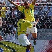 Brazil's Ronaldo celebrates scoring Brazil's second goal