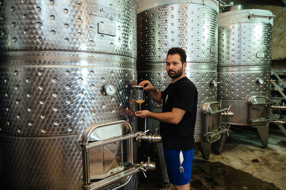 Adam Kassis, head winemaker of Latrun Monastery Winery, prepares to taste a sample of white wine from a tank at the winery, west of Jerusalem, Israel, on August 11, 2018.