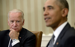 """File photo dated May 20, 2016 of U.S. President Barack Obama and Vice-President Joe Biden receive a briefing on the ongoing response to the Zika virus from members of his public health team including Secretary of Health and Human Services Sylvia Mathews Burwell, Director of NIH/NIAID Dr. Anthony Fauci, and Director of the Centers for Disease Control and Prevention Dr. Tom Friedenin the Oval Office of the White House in Washington, DC, USA. Former President Barack Obama endorsed Joe Biden, his two-term vice president, on Tuesday morning in the race for the White House. """"Choosing Joe to be my vice president was one of the best decisions I ever made, and he became a close friend. And I believe Joe has all the qualities we need in a president right now,"""" Obama said in a video posted to Twitter. Photo by Olivier Douliery/ABACAPRESS.COM"""