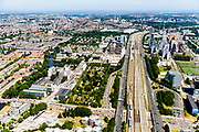 Nederland, Noord-Holland, Amsterdam-Zuid, 29-06-2018; Overzicht Zuid-as richting Station-Zuid en lokatie toekomstig Zuidasdok. Amstelveenseweg.<br /> Overview 'South-axis', financial district<br /> luchtfoto (toeslag op standard tarieven);<br /> aerial photo (additional fee required);<br /> copyright foto/photo Siebe Swart