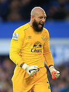 Tim Howard of Everton celebrates his sides opening goal - Everton vs. West Ham United - Barclay's Premier League - Goodison Park - Liverpool - 22/11/2014 Pic Philip Oldham/Sportimage