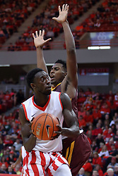 "19 February 2017:  Daouda ""David"" Ndiaye (4) during a College MVC (Missouri Valley conference) mens basketball game between the Loyola Ramblers and Illinois State Redbirds in  Redbird Arena, Normal IL"