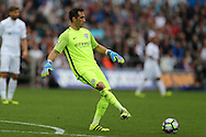 Claudio Bravo, the Manchester city goalkeeper in action. Premier league match, Swansea city v Manchester city at the Liberty Stadium in Swansea, South Wales on Saturday 24th September 2016.<br /> pic by Andrew Orchard, Andrew Orchard sports photography.