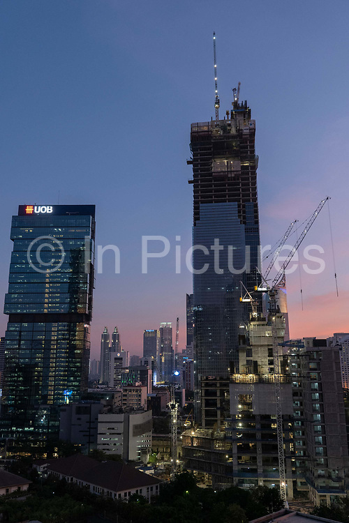 Central Jakartas rapidly developing skyline on the 21st October 2019 in Java in Indonesia