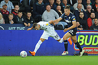 Swansea City's Bersant Celina is fouled by Leeds United's Kalvin Phillips<br /> <br /> Photographer Kevin Barnes/CameraSport<br /> <br /> The EFL Sky Bet Championship - Swansea City v Leeds United - Tuesday 21st August 2018 - Liberty Stadium - Swansea<br /> <br /> World Copyright © 2018 CameraSport. All rights reserved. 43 Linden Ave. Countesthorpe. Leicester. England. LE8 5PG - Tel: +44 (0) 116 277 4147 - admin@camerasport.com - www.camerasport.com