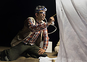 Catching insects on a trap set at night by the lepidopterologist.