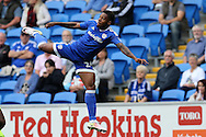 Kadeem Harris of Cardiff city in action.EFL Skybet championship match, Cardiff city v Reading at the Cardiff city stadium in Cardiff, South Wales on Saturday 27th August 2016.<br /> pic by Andrew Orchard, Andrew Orchard sports photography.