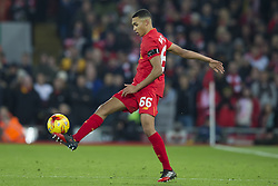 Halbfinale im Liga-Pokal Liverpool vs Leeds 1:0 in Liverpool / 291116<br /> <br /> ***LIVERPOOL, ENGLAND 29TH NOVEMBER 2016:<br /> Liverpool midfielder Trent Alexander-Arnold controls a ball during the English League Cup soccer match between Liverpool and Leeds at Anfield Stadium in Liverpool England November 29th 2016***