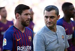 August 15, 2018 - Barcelona, Spain - Leo Messi and Ernesto Valverde during the presentation of the team 2018-19 before the match between FC Barcelona and C.A. Boca Juniors, corresponding to the Joan Gamper trophy, played at the Camp Nou, on 15th August, 2018, in Barcelona, Spain. (Credit Image: © Joan Valls/NurPhoto via ZUMA Press)