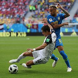 June 22, 2018 - Saint Petersburg, Russia - Neymar (R) of Brazil vies with Cristian Gamboa of Costa Rica during the 2018 FIFA World Cup Group E match between Brazil and Costa Rica in Saint Petersburg. (Credit Image: © Cao Can/Xinhua via ZUMA Wire)