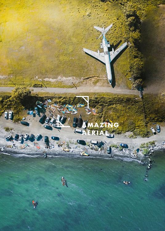 Aerial view of windsurf spot near Vladivostok, Russia.