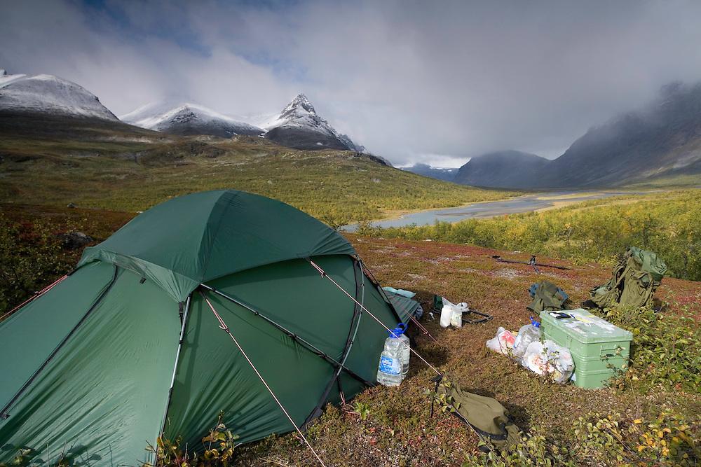 Wild wonders camp in Rapadalen, Sarek National Park, Laponia World Heritage Site, Sweden