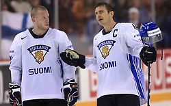 Saku Koivu and Ville Peltonen of Finland  at ice-hockey match Finland vs USA at Qualifying round Group F of IIHF WC 2008 in Halifax, on May 11, 2008 in Metro Center, Halifax, Nova Scotia, Canada. (Photo by Vid Ponikvar / Sportal Images)