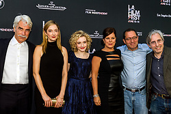 LOS ANGELES, CA - JUNE 10: Actors Sam Elliott, Judy Greer, Julia Garner, Lily Tomlin, Marcia Gay Harden, director Paul Weitz and Co-President and Co-Founder of Sony Pictures Classics Michael Barker attend the opening night premiere of 'Grandma' during the 2015 Los Angeles Film Festival at Regal Cinemas L.A. Live on June 10, 2015. Byline, credit, TV usage, web usage or linkback must read SILVEXPHOTO.COM. Failure to byline correctly will incur double the agreed fee. Tel: +1 714 504 6870.