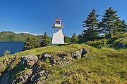 Lighthouse on Bonne Bay. Woody Point. <br /> Gros Morne National Park<br /> Newfoundland & Labrador<br /> Canada