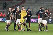 Fussball: 2. Bundesliga, FC St. Pauli - Hamburger SV, Hamburg, 01.03.2021<br /> Jubel St. Pauli: Torwart Dejan Stovanovic (M.)<br /> © Torsten Helmke