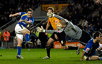 Photo: Jed Wee/Sportsbeat Images.<br /> Hull City v Cardiff City. Coca Cola Championship. 01/12/2007.<br /> <br /> Cardiff's Steve MacLean (L) sees a late shot stopped by the head of Hull goalkeeper Boaz Myhill.
