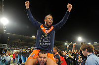 FOOTBALL - FRENCH CHAMPIONSHIP 2011/2012 - L1 - AJ AUXERRE v MONTPELLIER HSC - 20/05/2012 - PHOTO JEAN MARIE HERVIO / DPPI - CELEBRATION GARRY BOCALY (MHSC) AFTER WINNING THE FRENCH CHAMPIONSHIP'S TROPHY