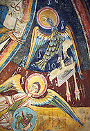 Romanesque frescoes depicting the an Angel with the Eagle that symbolises the St John the Evangelist from the church of Sant Miguel d'Engolasters, Les Escaldes, Andorra.. Painted around 1160. National Art Museum of Catalonia, Barcelona. MNAC 15972
