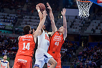 Real Madrid's Gustavo Ayon and Valencia Basket's Bojan Dubljevic and Luke Sikma during Quarter Finals match of 2017 King's Cup at Fernando Buesa Arena in Vitoria, Spain. February 19, 2017. (ALTERPHOTOS/BorjaB.Hojas)