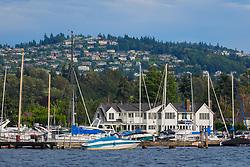 United States, Washington, Bellevue. Houses on hillside overlooking Lake Washington and marina.