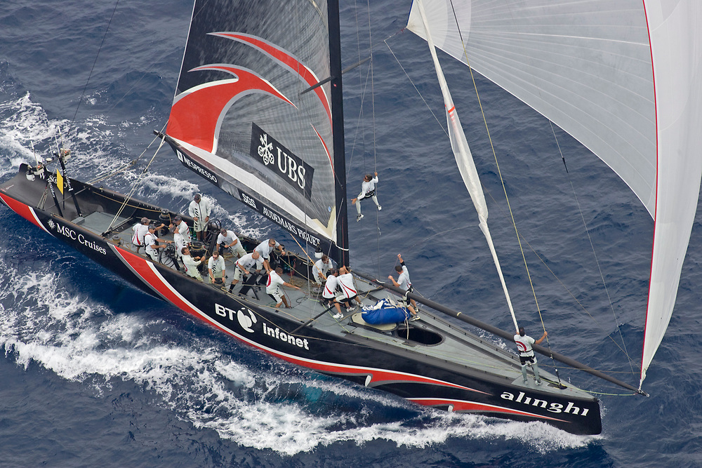 Race 4: ALINGHI wins by 30 seconds over Emirates Team New Zealand <br /> 32nd America's Cup, 2007<br /> Valencia, Spain<br /> © Daniel Forster