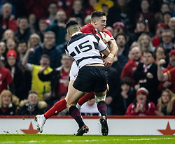 Wales Josh Adams scores his sides first try<br /> <br /> Photographer Simon King/Replay Images<br /> <br /> Friendly - Wales v Barbarians - Saturday 30th November 2019 - Principality Stadium - Cardiff<br /> <br /> World Copyright © Replay Images . All rights reserved. info@replayimages.co.uk - http://replayimages.co.uk