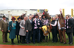 Pentland Hills ridden by Nico de Boinville (centre) after victory in the JCP Triumph Hurdle during Gold Cup Day of the 2019 Cheltenham Festival at Cheltenham Racecourse.