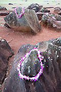 Kukaniloko Hawaiian Birthing Stones on Oahu with Lei