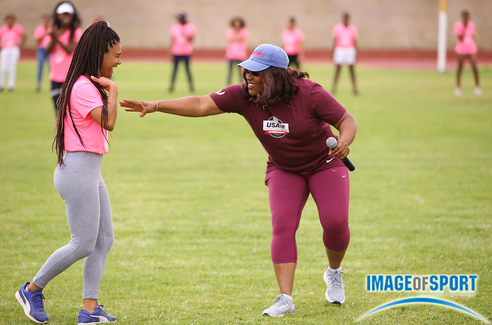 Mar 10, 2018; Cape town, South Africa; Asnique Robinson of UWC with Team USA coach Sharrieffa Barksdale during the TrackGirlz events at University of Western Cape on March 10, 2018 in Cape Town, South Africa. (Roger Sedres/Image of Sport)