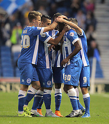 Kazenga LuaLua ( 2nd R ) of Brighton & Hove Albion celebrates with team mates after he scores the opening goal to make it 1-0 - Mandatory byline: Paul Terry/JMP - 07966386802 - 07/08/2015 - FOOTBALL - Falmer Stadium -Brighton,England - Brighton v Nottingham Forest - Sky Bet Championship