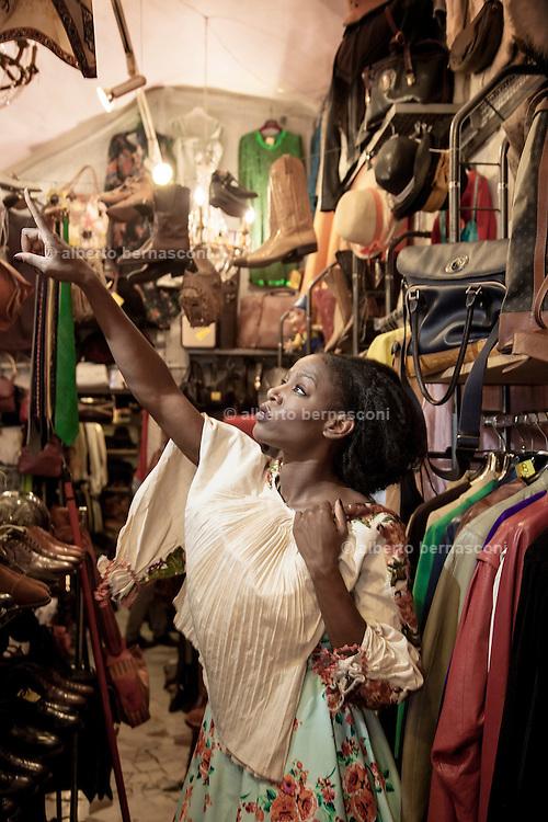 Rome, the writer Taiye Selasi, via del governo vecchio, vintage clothes shop