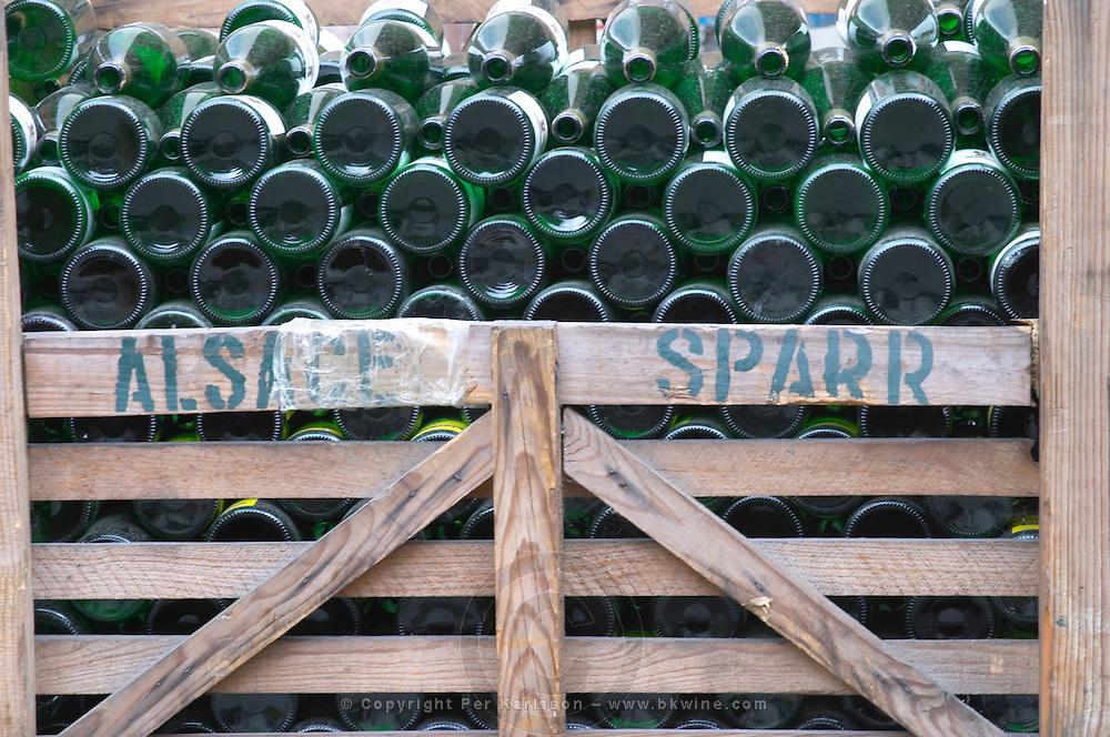 bottles stored in wooden crates pierre sparr et ses fils sigolsheim alsace france