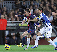 06.01.2013 Barcelona, Spain. La Liga day 18. Leo Messi in action during game between FC Barcelona against RCD Espanyol at Camp Nou
