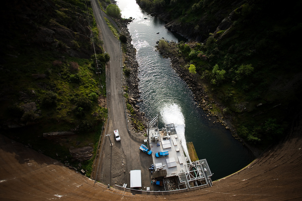 Water is released into Putah Creek from Lake Berryessa, in Solano County, California.