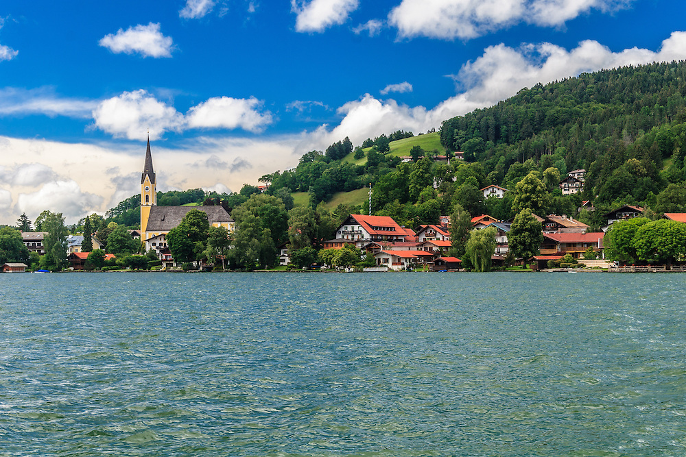 St Sixtus Church in Schliersee Village, Germany.  Schliersee is a natural lake known for excellent quality of the water that situates in the Bavarian Alps.