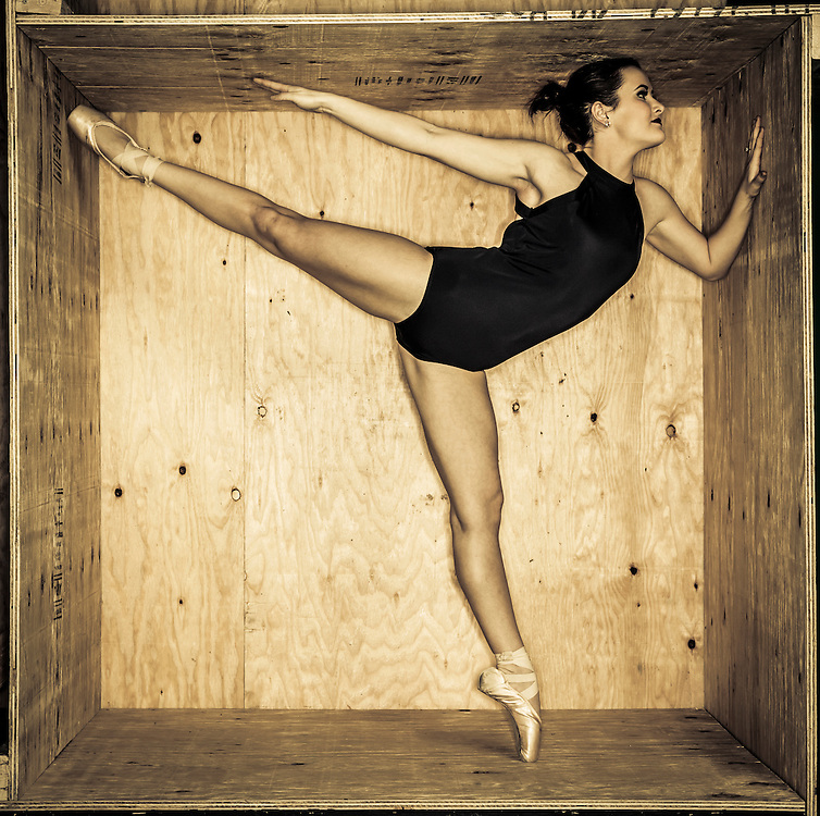 UVU Dance team members in a wooden box in Will's Studio for this years dance poster on the campus of Utah Valley University in Orem , Utah, Thursday, Feb. 4, 2016. (August Miller, UVU Marketing)