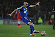 Conor Sammon of Ipswich takes a shot on goal.<br /> <br /> Skybet Football League Championship match, Cardiff City v Ipswich Town at the Cardiff city stadium in Cardiff, South Wales on Tuesday 21st October 2014<br /> pic by Mark Hawkins, Andrew Orchard sports photography.