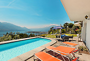 Nice terrace with swimming pool in a villa on the lake