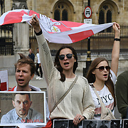 Protest against the Belarusian government at Parliament Square, London, United Kingdom.