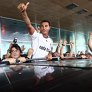 Besiktas Istanbul's new Portuguese soccer player Ricardo Quaresma (L) is greeted by fans as he arrives at Ataturk Airport in Istanbul, Turkey, 18 June 2010. Quaresma will be presented to fans during a signing ceremony at Inonu Stadium on June 19. Photo by TURKPIX