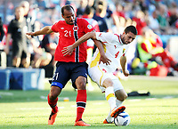 Fotball , 11. juni 2013 , Privatkamp , Norge - Makedonia<br /> Norway - FYR Macedonia 2-0<br /> <br /> Daniel Braaten , Norge<br /> Blagoja Ljamcevski , Makedonia